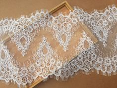 3 Yards Chantilly Lace Fabric Trim for Birdal Veil  by lacetime