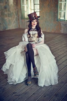 Sexy Steampunk Bride - For costume tutorials, clothing guide, fashion inspiration photo gallery, calendar of Steampunk events, & more, visit SteampunkFashionGuide.com