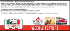 Find Polidori Sausage on the menu at Kolache Factory in Lakewood, Colorado.
