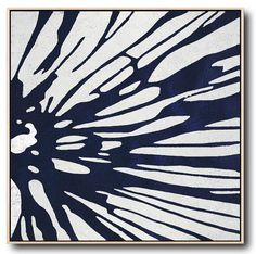 Abstract Flower Painting on canvas, Hand-painted Navy blue and White minimalist Painting #NV281A by CZ Art Design @CelineZiangArt