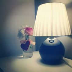 Good night, pink heart and rose. Grey and black bedroom
