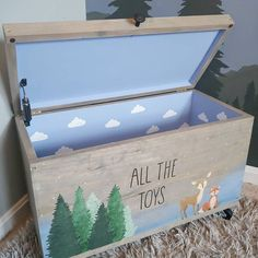 Boys Toy Box, Kids Toy Chest, Kids Toy Boxes, Toy Storage Boxes, Toy Bins, Painted Toy Chest, Hand Painted, Large Toy Chest, Baby Boy Toys