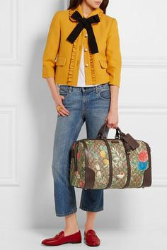 Gucci | Linea A textured leather-trimmed printed coated canvas weekend bag | NET-A-PORTER.COM