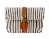 Clutch With Blue and White stripes