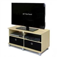 This Steam Beech Entertainment Center - Holds Flat Screen TV's up to is Suitable for office, home and student room. Media Storage, Storage Spaces, Home Tv Stand, Tv Stand And Entertainment Center, Wooden Tv Stands, Student Room, Cool Tv Stands, Flat Panel Tv, Home And Living