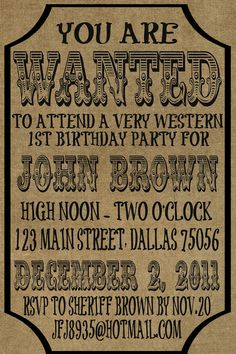 Printable Wanted party invitation | Simple Western WANTED sign Birthday Invitation jpg by lilmoptop