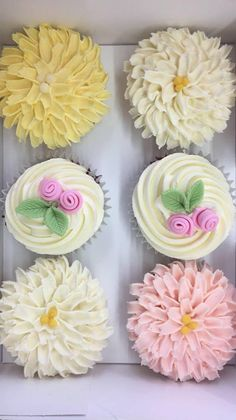These flower cupcakes are almost too pretty to eat Flower Cupcakes, Fun Cupcakes, Eat, Pretty, Desserts, Flowers, Food, Cool Cupcakes, Meal