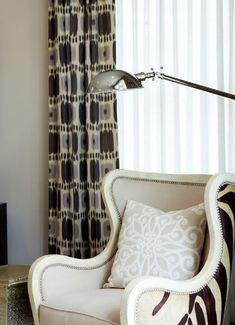 Schumacher Kandira Pleated Drapes (shown in Ash-comes in Indigo and Greige) Furniture Design Chair, Furniture Chair, Bedroom With Sitting Area, Modern Wingback Chairs, Chair, Furniture, Traditional House, Patterned Armchair, Old Westbury