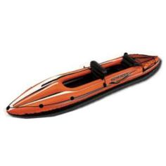 Kayaking Pool Central 138 in. Orange and Black Inflatable Kayak - Enjoy the great outdoors with this inflatable kayak. It features an inflatable floor for comfort and rigidity. The grab rope around the perimeter allows for easy transport. Water Shoes, Boat Shoes, 2 Person Kayak, Kayak Pools, Single Kayak, Sport Pool, Kayaking Tips, Inflatable Float, Kayak Accessories