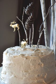 Whimsical Woodland Party - love this simple birthday cake using pieces of nature as decoration!