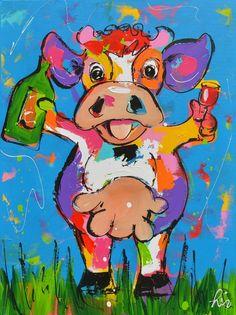 Kleurrijke vrolijke dans koe schilderij titel: 'En daar moet op gedronken worden' kunstwerk vervaardigd door: Liz