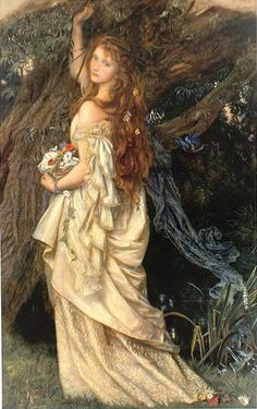 """Ophelia (""""And He Will Not Come Back Again"""") (1865). Arthur Hughes (British, 1832-1915). Oil on canvas. Toledo Museum of Art."""