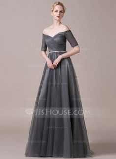 A-Line/Princess Off-the-Shoulder Floor-Length Tulle Evening Dress With Ruffle Beading (017061255)