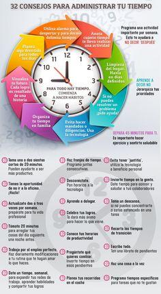 Para el inicio de año, nada mejor que aprender a #administrar mejor nuestro #tiempo. Les compartimos la siguiente #infografía para aprenderlo.