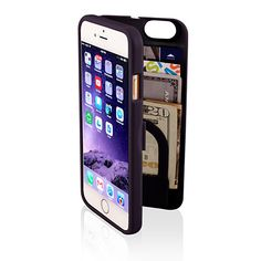 """The eyn case for the iPhone 6  is a multi-functional protective smartphone case with hidden storage to hold """"everything you need"""" all in one secure place - phone, credit card, I.D., cash and more. Leave your wallet at home! The case includes a mirror inside which perfect for the quick touch-up, and comes with a wrist strap for hands-free carrying."""