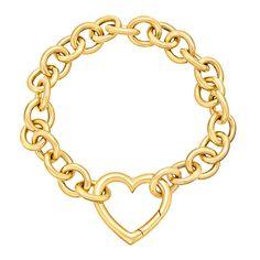 1stdibs.com | TIFFANY & CO. Gold Link Bracelet with Heart Clasp 2k USD