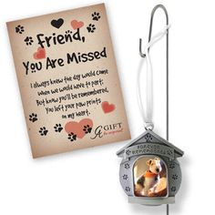 Forever Remembered Garden Memorial Stake Dog house shaped ornament with Forever Remembered photo opening hangs from this stake you can place in a plant, garden or walkway.