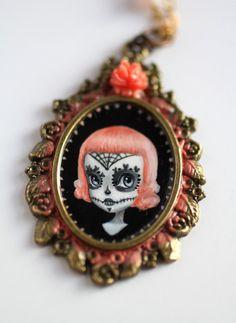 Dia de Los Muertos  Pinky Spider Sugar Skull Girl  by mabgraves