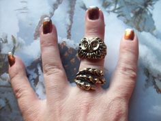 Trendy Golden Owl Talon Claw Double Ring Set...... Free Shipping......... $10.80