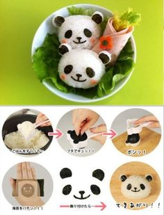 try it home Bento Recipes, Baby Food Recipes, Diy Sushi, Childrens Meals, Panda Party, Fake Food, Bento Box, Fish And Seafood, Creative Food