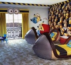 Omg minion bedroom and rocket ship beds how cool is this??