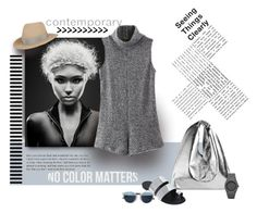"""""""Lady Gray"""" by michelletheaflack ❤ liked on Polyvore featuring Eugenia Kim, Marques'Almeida, Giuseppe Zanotti, Christian Dior, Haute Hippie, CC and gray"""
