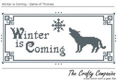 Winter is Coming  Game of Thrones Inspired PDF by CraftyCompanion