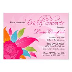 Shop Elegant Colorful Floral Bridal Shower Invitation created by SocialiteDesigns. Personalize it with photos & text or purchase as is! Bridal Shower Invitations, Custom Invitations, Party Invitations, Invites, 50th Wedding Anniversary, Paper Design, Floral Wedding, Wedding Engagement, Colorful