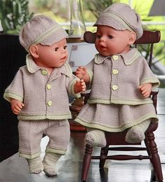 Knitting pattern fits dolls like American Girl, Baby Born or Chou Chou Knitting Dolls Clothes, Ag Doll Clothes, Doll Clothes Patterns, Clothing Patterns, Baby Born Clothes, Bitty Baby Clothes, Crochet Baby Clothes, Crochet Doll Dress, Knitted Dolls