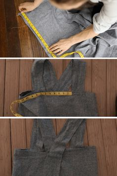 Sewing Ideas For Babies DIY Linen Pinafore Apron Strap Placement - Learn how to sew a DIY linen pinafore apron for women. Cut list, pocket placement guide and video tutorial give you everything you need to make this simple Pinafore Pattern, Pinafore Apron, Japanese Apron, Japanese Sewing, Sewing Aprons, Sewing Clothes, Sewing Tutorials, Sewing Patterns, Apron Patterns