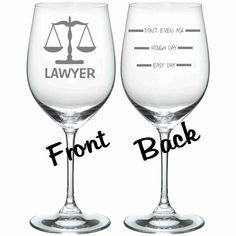 Etched Lawyer Wine GLass Set of 2 FUNNY Chose from Stemless Wine, Wine, Beer Mug, Pilsner, Pub, Rocks, Coffee Mug FREE Personalization