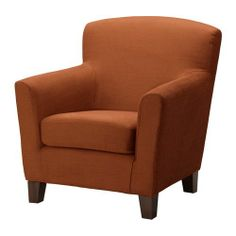 (I saw this chair at IKEA today and I have to say it was so comfortable, it took my husband 10 minutes of persuasion to get me out of it. Someday, it will be mine. ST)   EKENÄS Chair IKEA (rust) The high back provides good support for your neck and head. Durable cover of chenille quality with a slight sheen and a soft feel. Matching ottoman also available.