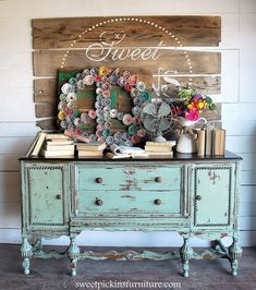 Loving this gorgeous dresser re-do by {Sweet Pickins Furniture} #PaintedFurniture #BlueBuffet