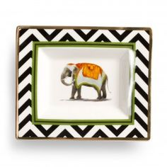 Black and White Elephant Plate CWonder