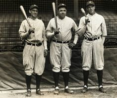 The outfield (L-R): Earle Combs, Babe Ruth and Bob Meusel