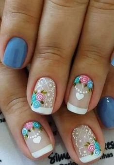 Shellac Pedicure, Manicure And Pedicure, Pedicure Designs, Toe Nail Designs, French Nails, French Manicures, Blue And White Nails, Nail Techniques, Silver Nails
