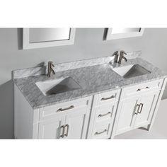 "Carrara Marble Stone 72"" Double Bathroom Vanity with Mirrors"