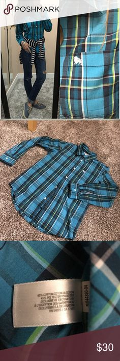 """💌ON plaid button down Vibrant colors for upcoming spring:)) youth size XL, which fits like a S. perfect/new condition. •armpit to armpit 18"""" •shoulder to hem 25""""•armpit to wrist 18"""" ****the shoes are also available Old Navy Tops Button Down Shirts"""