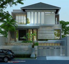 Desain Rumah 3 Lantai Minimalis Tropis, nuansa mewah & modern berpadu tropis alami dengan batu alam dinding, GSB 7M, ukuran kavling 12 X 23 M di JAKARTA.