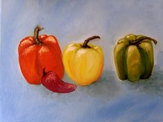 Peppers Painting #Realism Hottest Chili Pepper, Watercolor Paintings, Pumpkin, Stuffed Peppers, Vegetables, Drawings, Food, Binder, Sketches