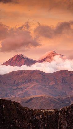 Sunset on the Illinizas Volcanoes near Laguna de Quilotoa at sunset in Ecuador