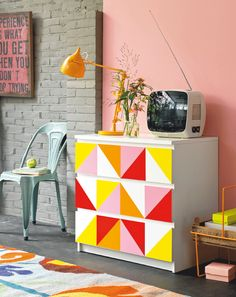 Brighten up your room with a bold geometric dresser.