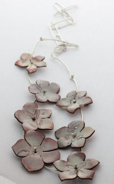 Spring Floral Enamel Necklace with handmade by CynthiaDelGiudice