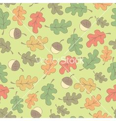 Autumn seamless pattern with acorns vector - by homobibens on VectorStock®
