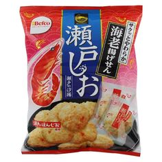 Befco Seto Shio Senbei are a well known crunchy Japanese fried rice crackers. These senbei contain small shrimps added while kneading the dough. Japanese sea water salt from Seto Islands has also been added to enhance the flavor of the crackers. Japanese Fried Rice, Japanese Snacks, Beer Label, Crackers, Shrimp, Fries, Snack Recipes, Food, Snack Mix Recipes