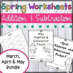 This no prep Spring-themed packet combines six of my popular math fact resources. Here you will get all of the March, April and May addition and subtraction packets. That's over pages of addition and subtraction practice! Addition Portion Contains: 1st Grade Activities, 1st Grade Math, Number Activities, Kindergarten Math, Addition And Subtraction Worksheets, Math Addition, Sequencing Worksheets, Teaching Fractions, Daily Writing Prompts