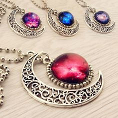 Harajuku galaxy moon necklace ❤ liked on Polyvore featuring jewelry, necklaces, galaxy necklace, cosmic jewelry and planet necklace