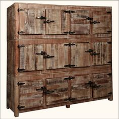 12 Square Cubbies Reclaimed Wood Large Wall Unit Storage Cabinet Room Divider