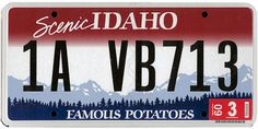 The official Idaho state license plate. Car Tags, Family Chiropractic, 50 States, Deco, Road Trip, The Unit, License Plates, Number Plates, Lighthouses