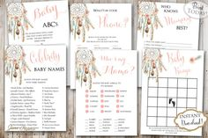 Every baby shower needs fun activities. This pack includes 6 fun games for your guests and you to play. You can keep the printables as a keepsake and share them with your baby when he/she gets older. INSTANT DOWNLOAD Dream Catcher Tribal Boho Printable Baby Shower Games Pack. These are perfect for boho spring or summer baby shower. Find more coordinating printables at JanePaperie: https://www.etsy.com/shop/JanePaperie